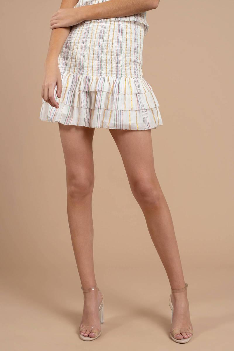 4805dd11a64 Beige Saylor Skirt - Ruffle Skirt - Beige Smocked Skirt - Flowy Mini ...