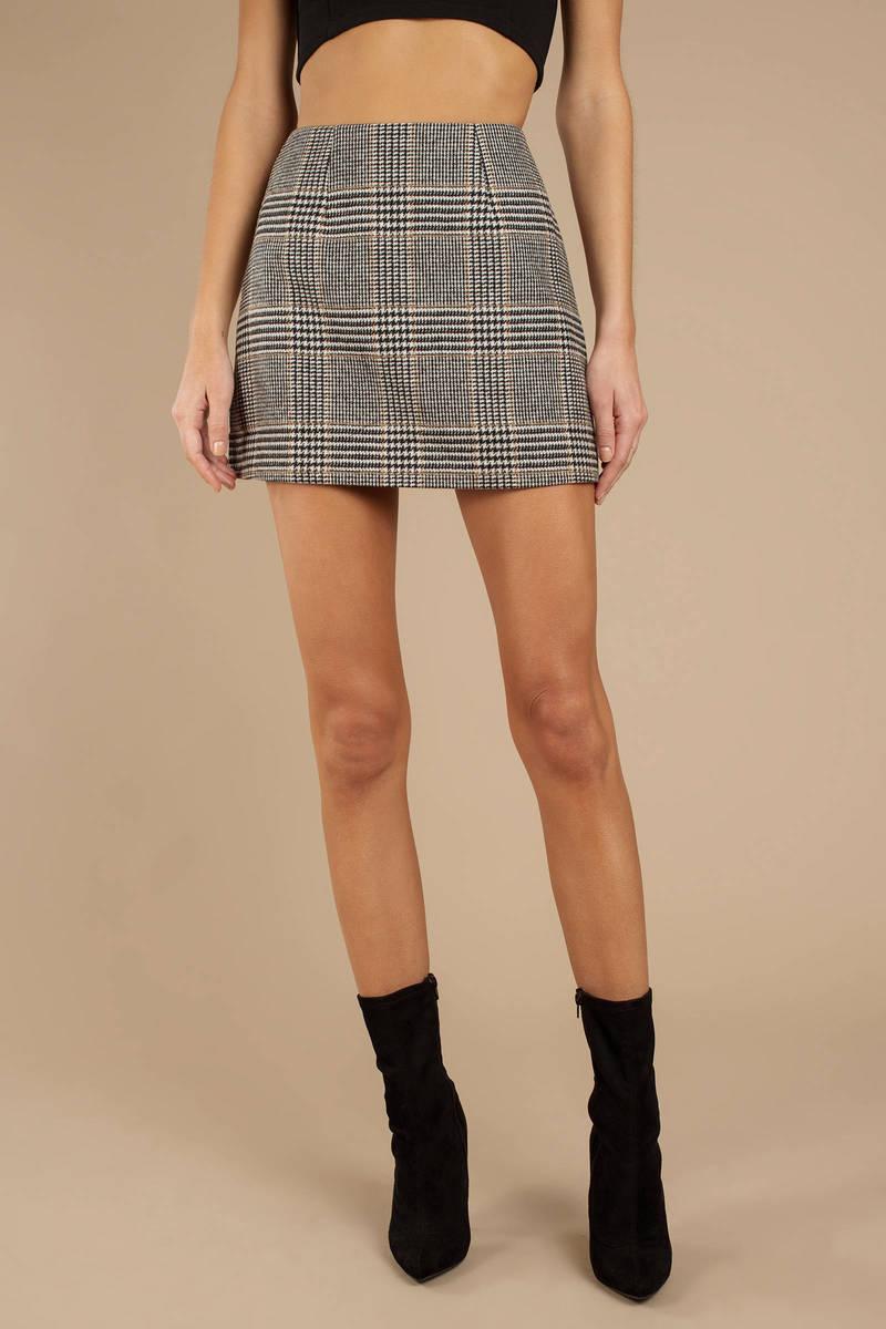 9afaa04f5 Black Astr Plaid Skirt - A Line Skirt - Black Bodycon Pencil Skirt ...