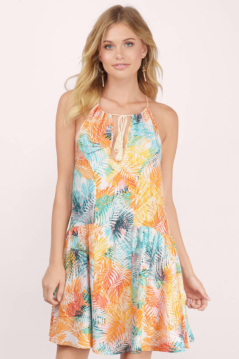 somedays lovin Somedays Lovin Rahpi Multi Palm Print Swing Dress
