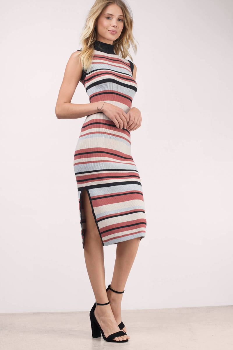 MINKPINK Minkpink Straight N Narrow Multi Knit Striped Bodycon Dress