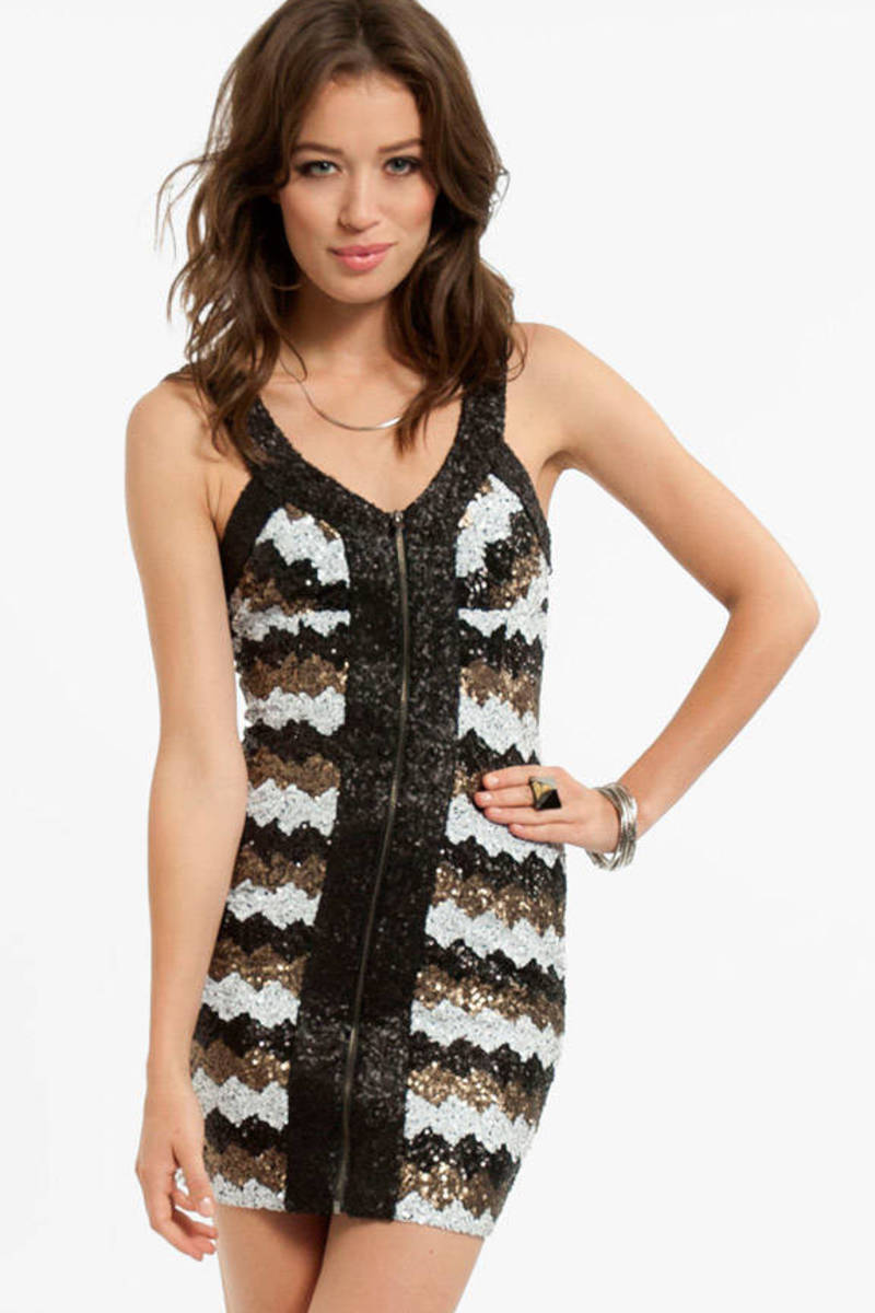 Zaggered Sequin Dress