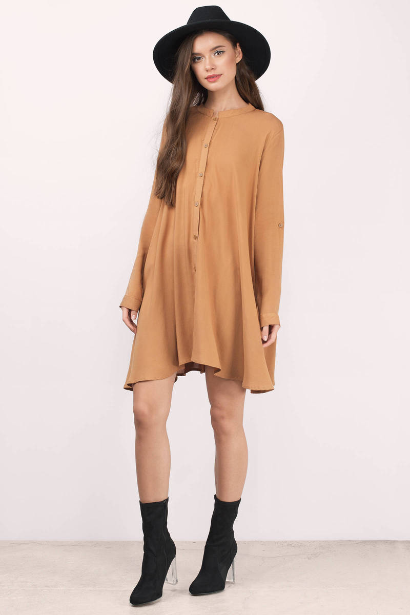 Denim Shirt Mustard Yellow Dresses for Women