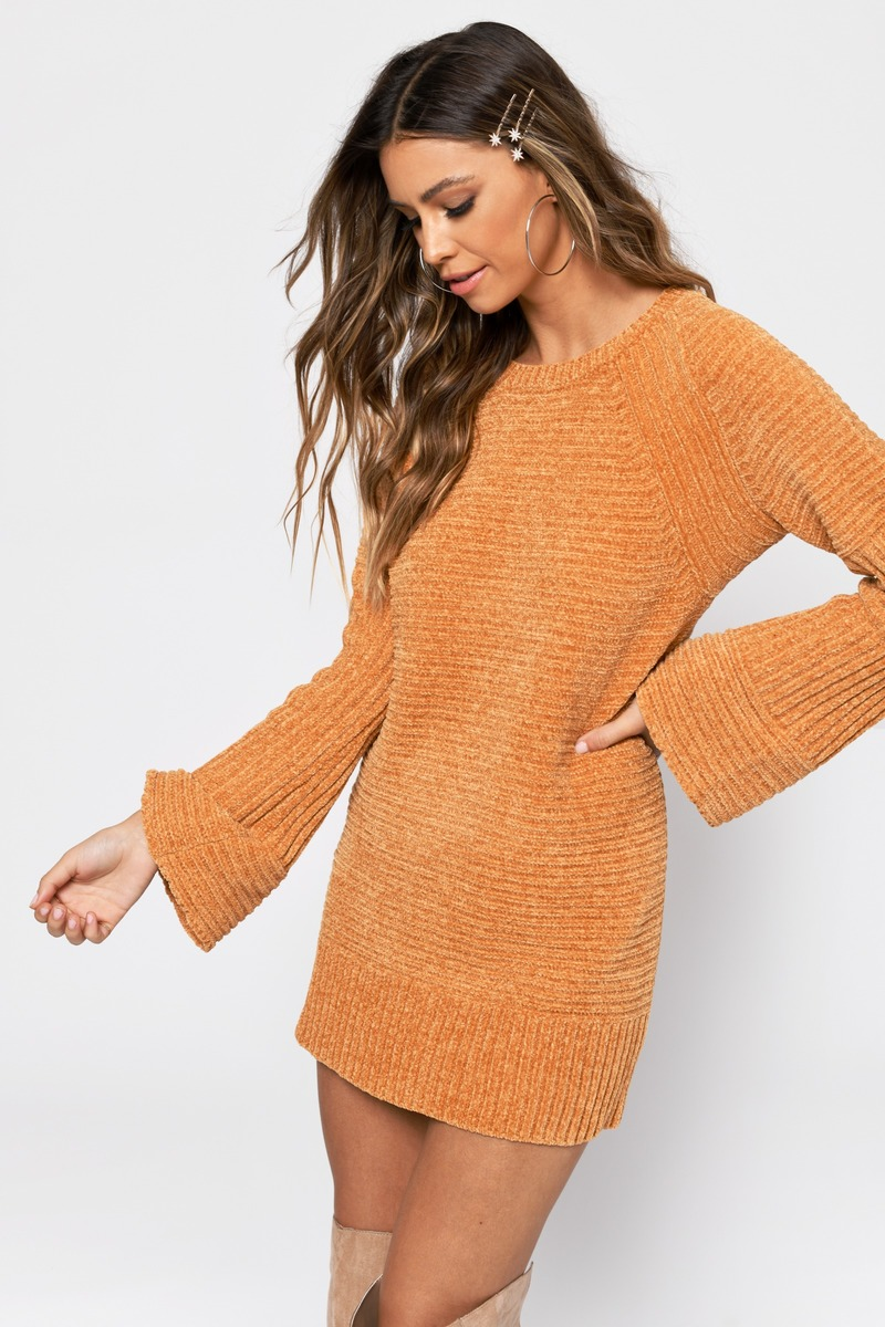 bfaf1cddc6a Mustard Yellow Dress - Sweater Dress - Mustard Yellow Chenille Dress ...