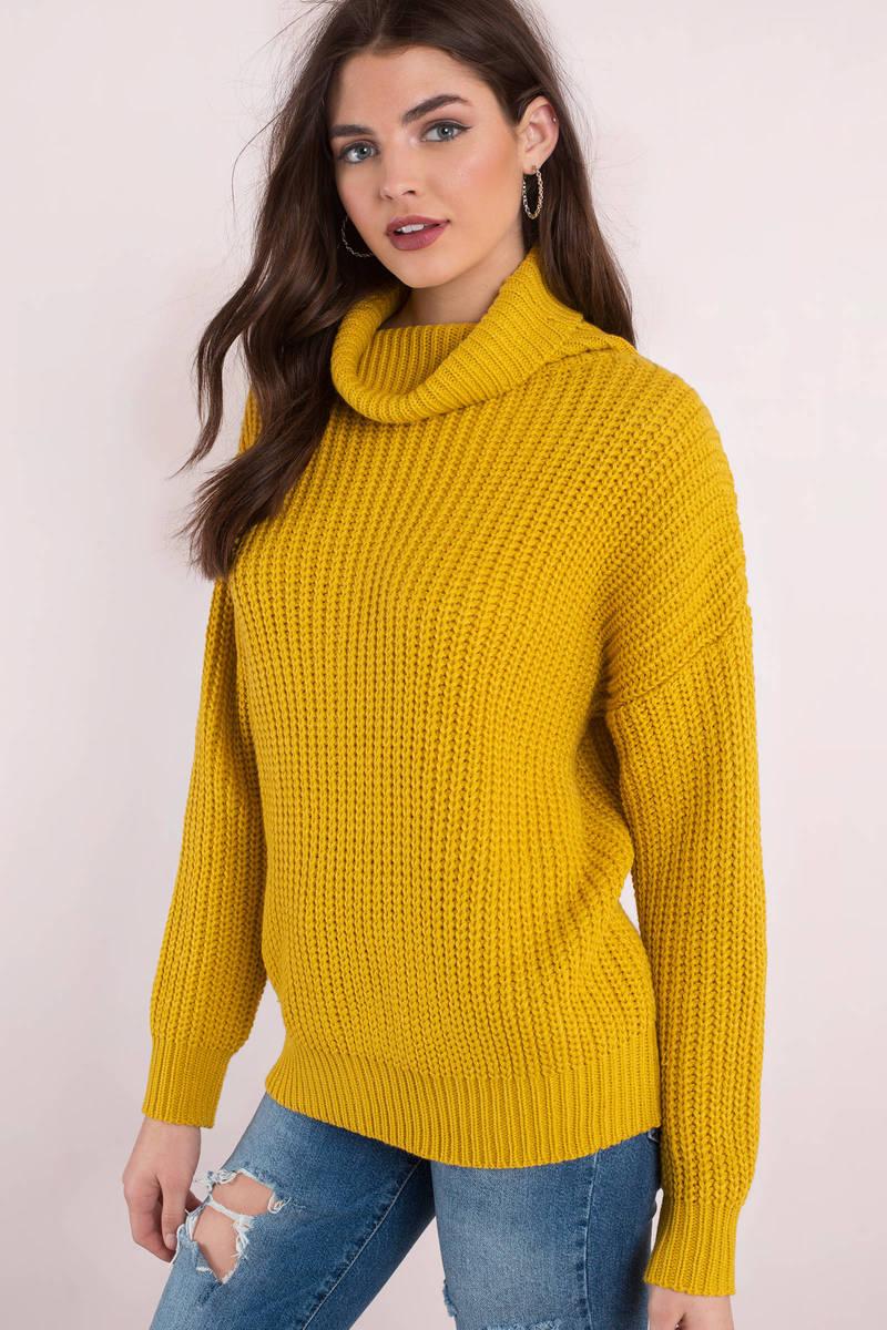 23e06d4a5a Cute Yellow Sweater - Cowl Neck Sweater - Mustard Yellow Sweater ...