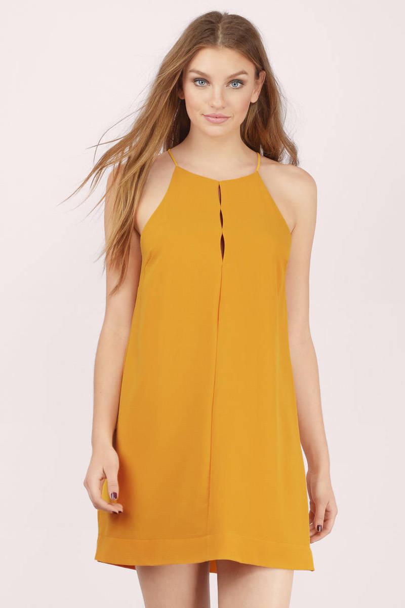 Place In The Sun Mustard Shift Dress