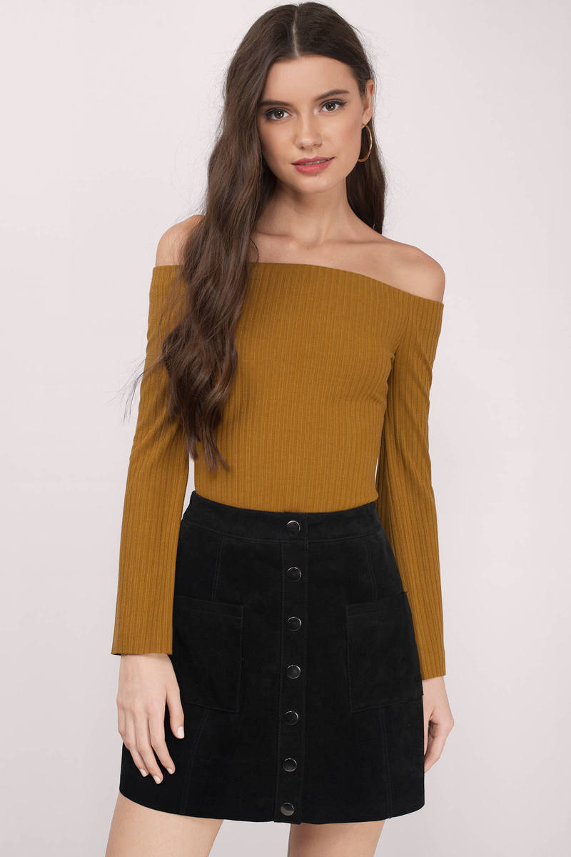 3a48a529de13e7 Cute Mustard Yellow Blouse - Long Sleeve Blouse - Off Shoulder Top ...