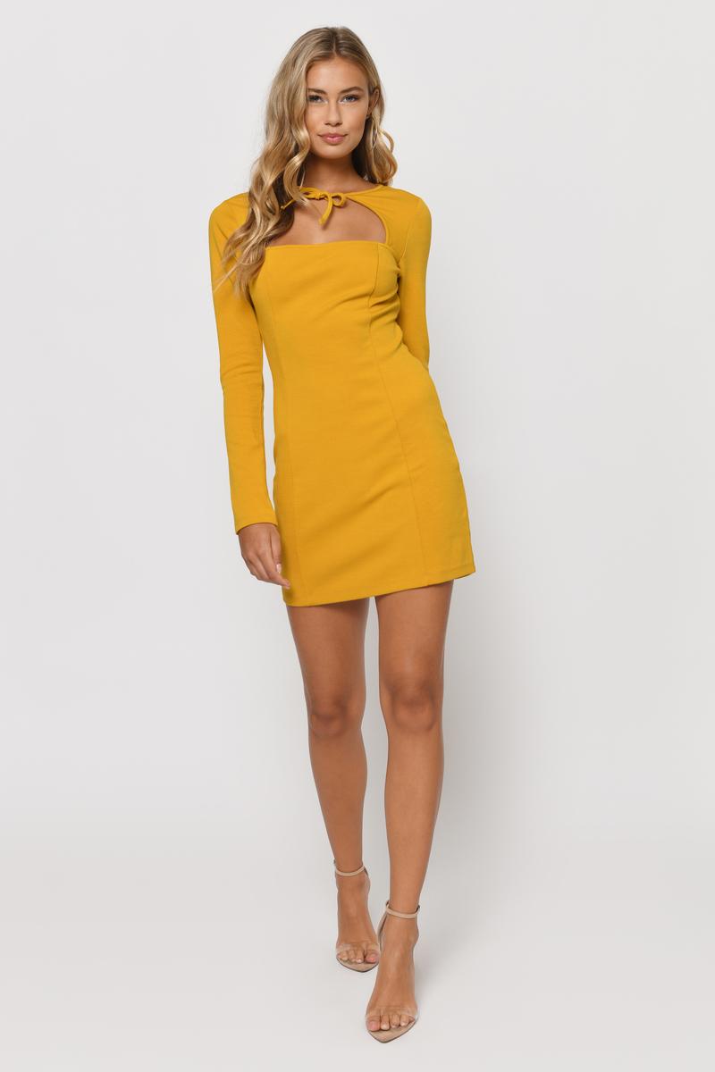 7523a3a24d63 Sexy Mustard Yellow Dress - Bolo Tie Dress - Long Sleeve Bodycon ...