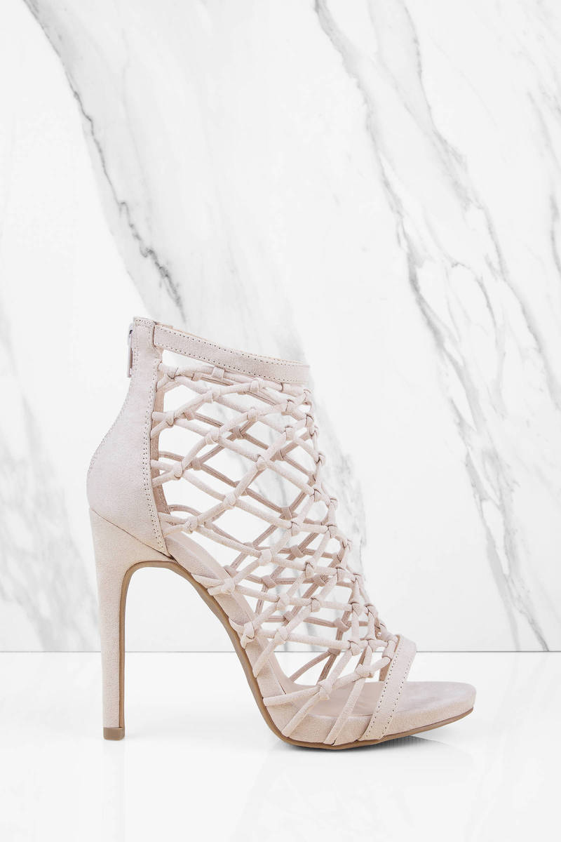 Above It Natural Caged Heels