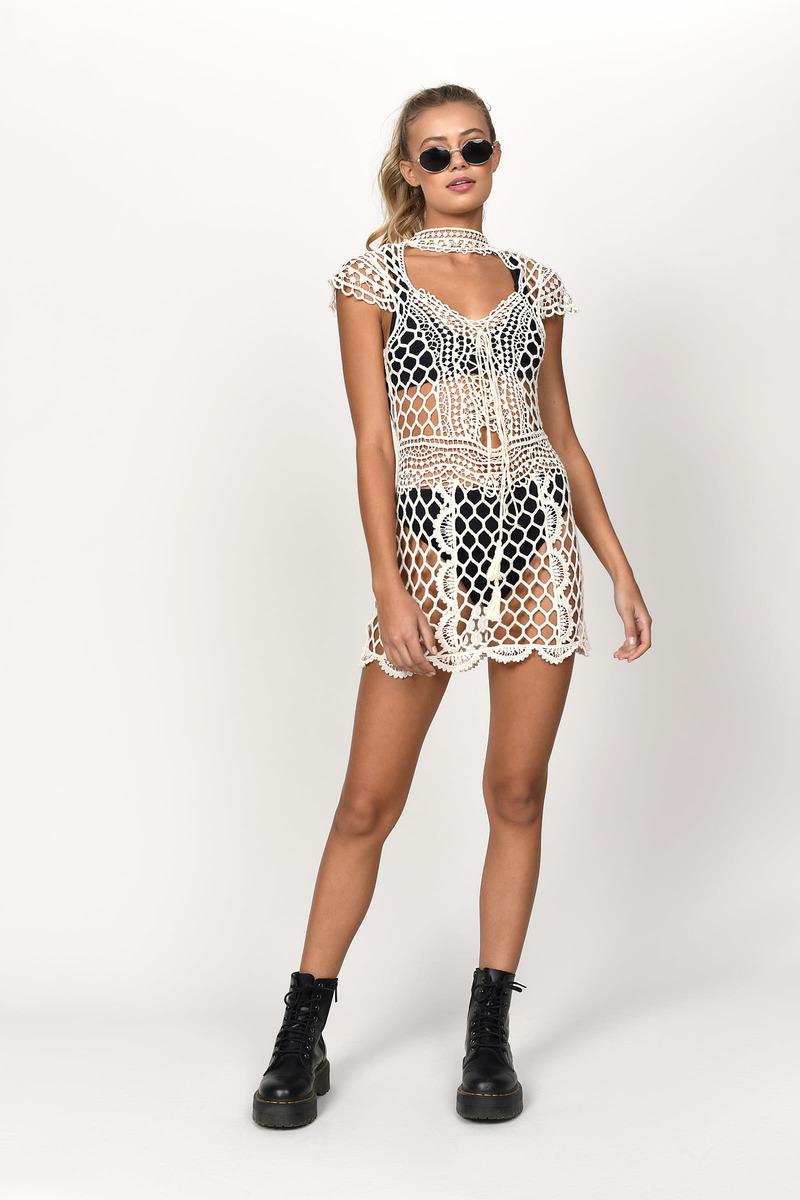 ea3de11676f Beige Shift Dress - Crochet Trim Dress - Beige Crochet Choker Dress ...