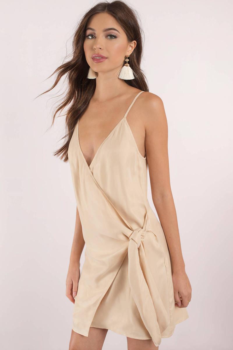 3ef11c6fa87e Chic Nude Wrap Dress - Cami Dress - Nude Plunging Dress - Bow Dress ...