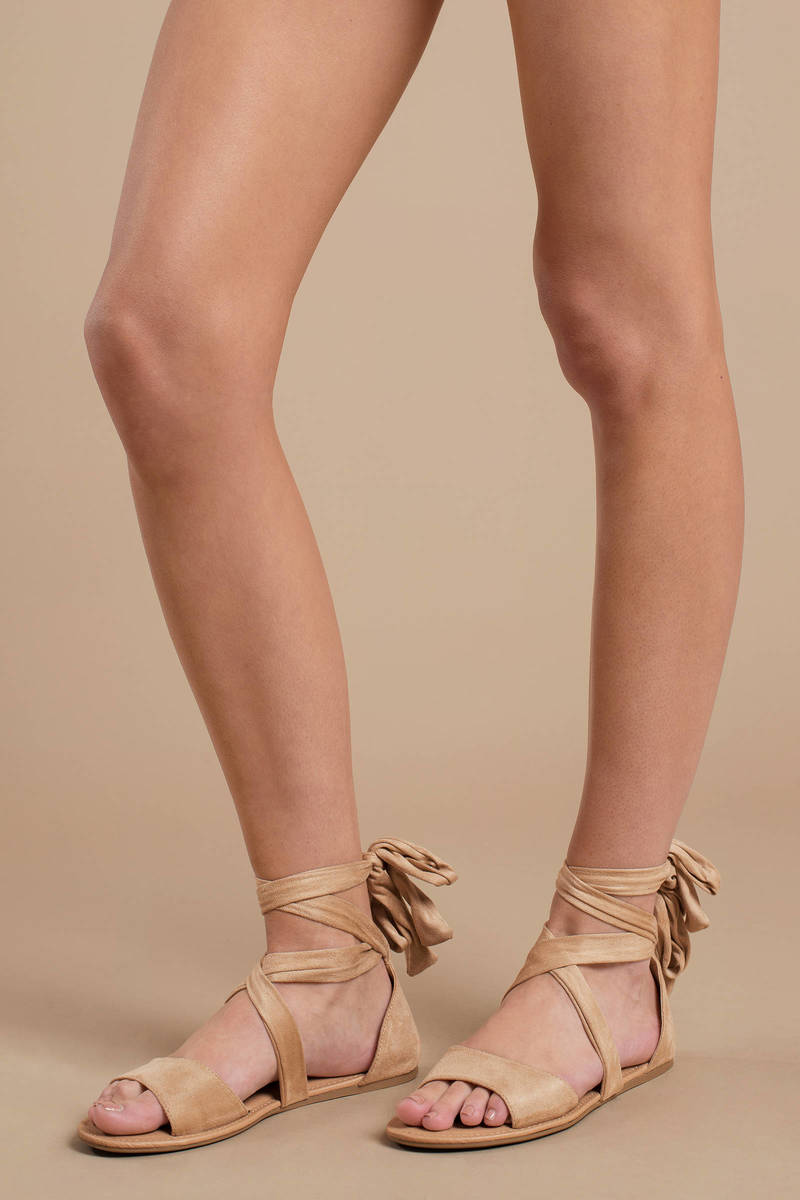 Beige Sandals - Flat Lace Up Sandals