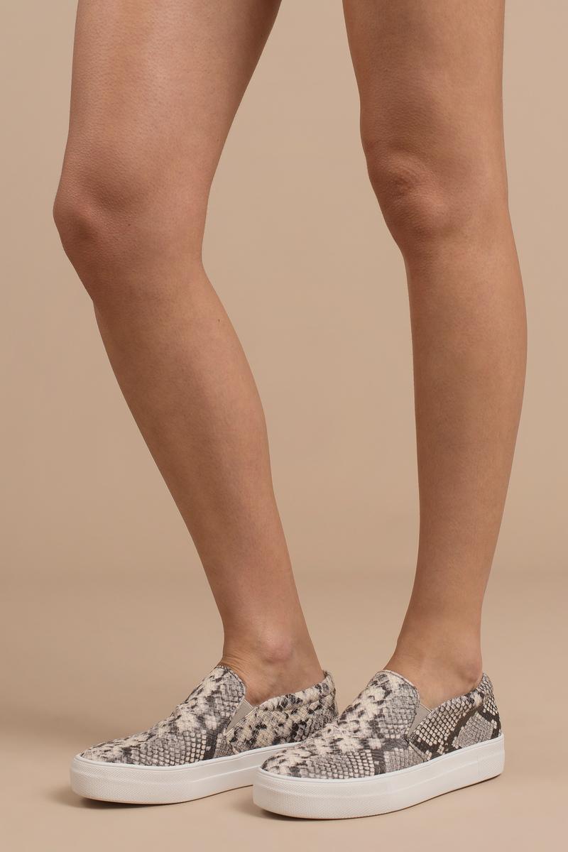 5c8e1dc2c3d0 Grey Steve Madden Sneakers - Snakeskin Slip Ons - Grey Patterned ...