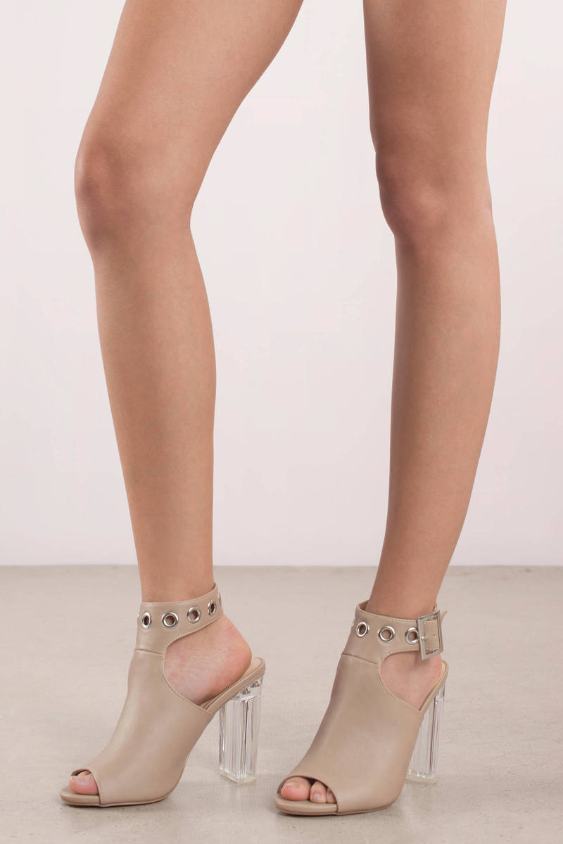 c57263bc9aee Nude Heels - Party Ankle Wrap Heels - Nude Clear Heels - € 19