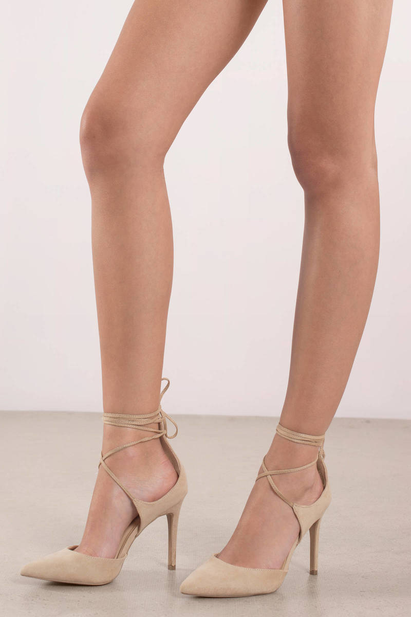 Jennifer Natural Strappy Closed Toe Heels