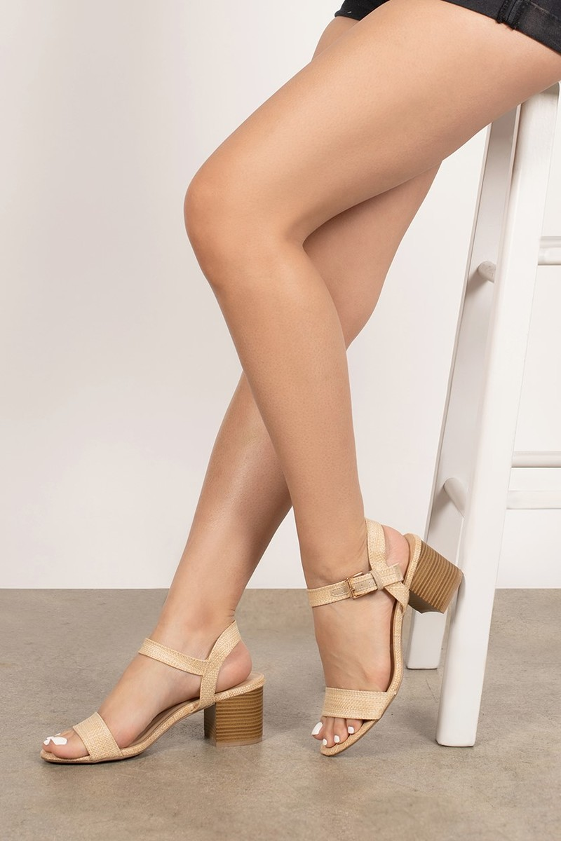 Limone Natural Ankle Strap Block Heels