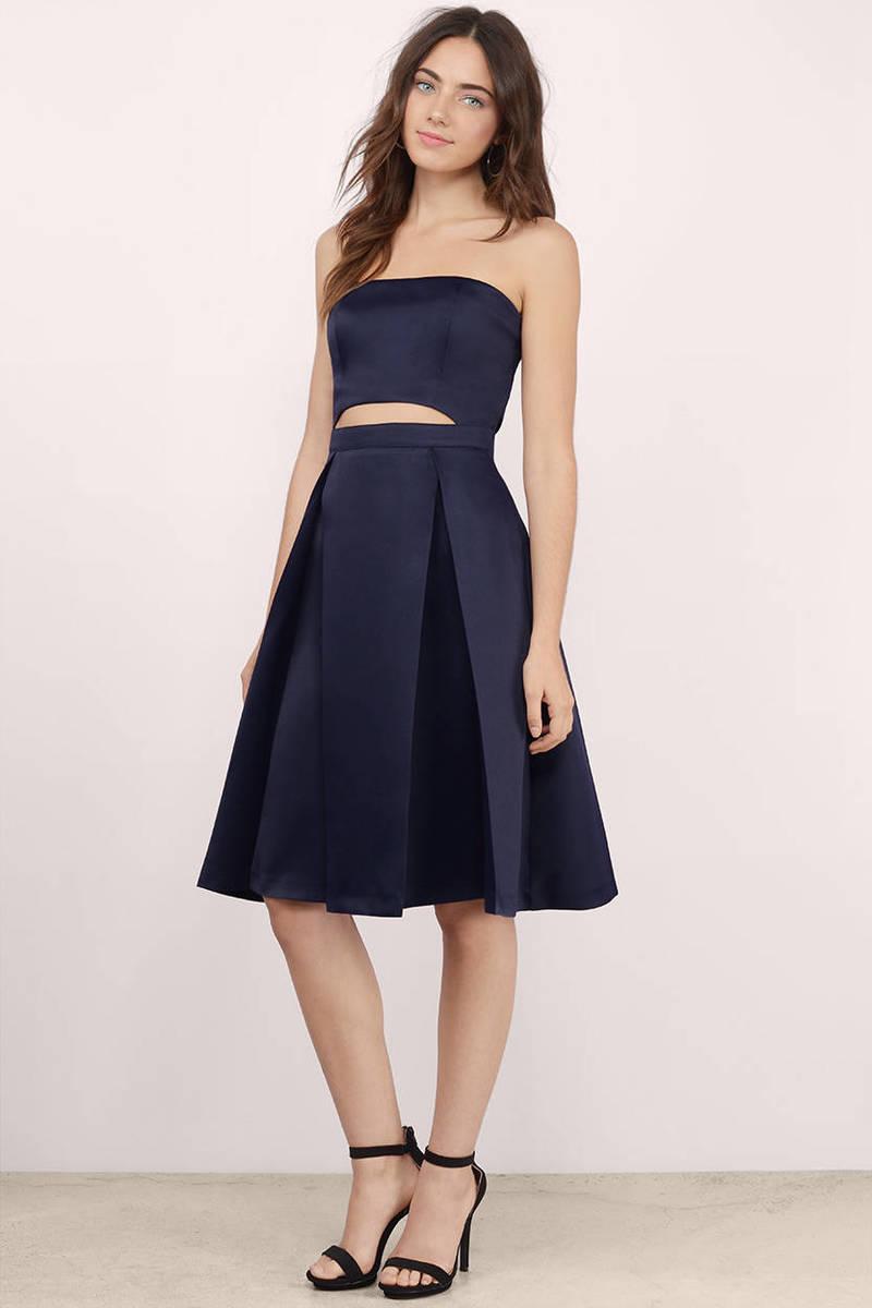 Adeline Navy Skater Dress