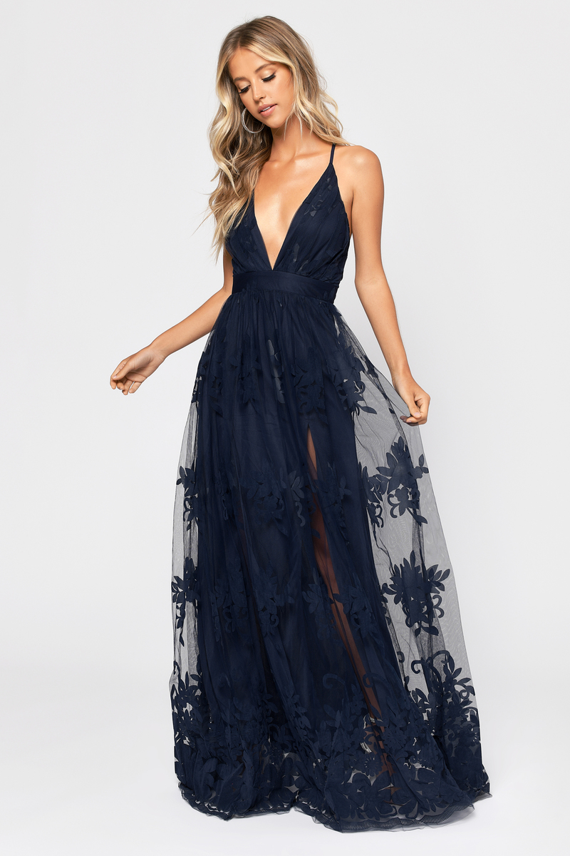 a2317af39010 Navy Blue Maxi Dress - Formal Gown - Navy Blue Lace Tulle Dress ...