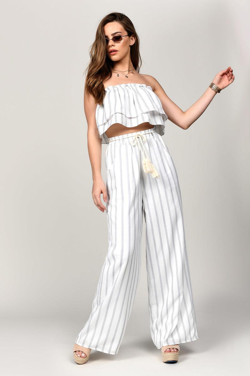 1846419d35 White Pants - Loose Pants - White Striped Pants - Flared Pants - $25 ...