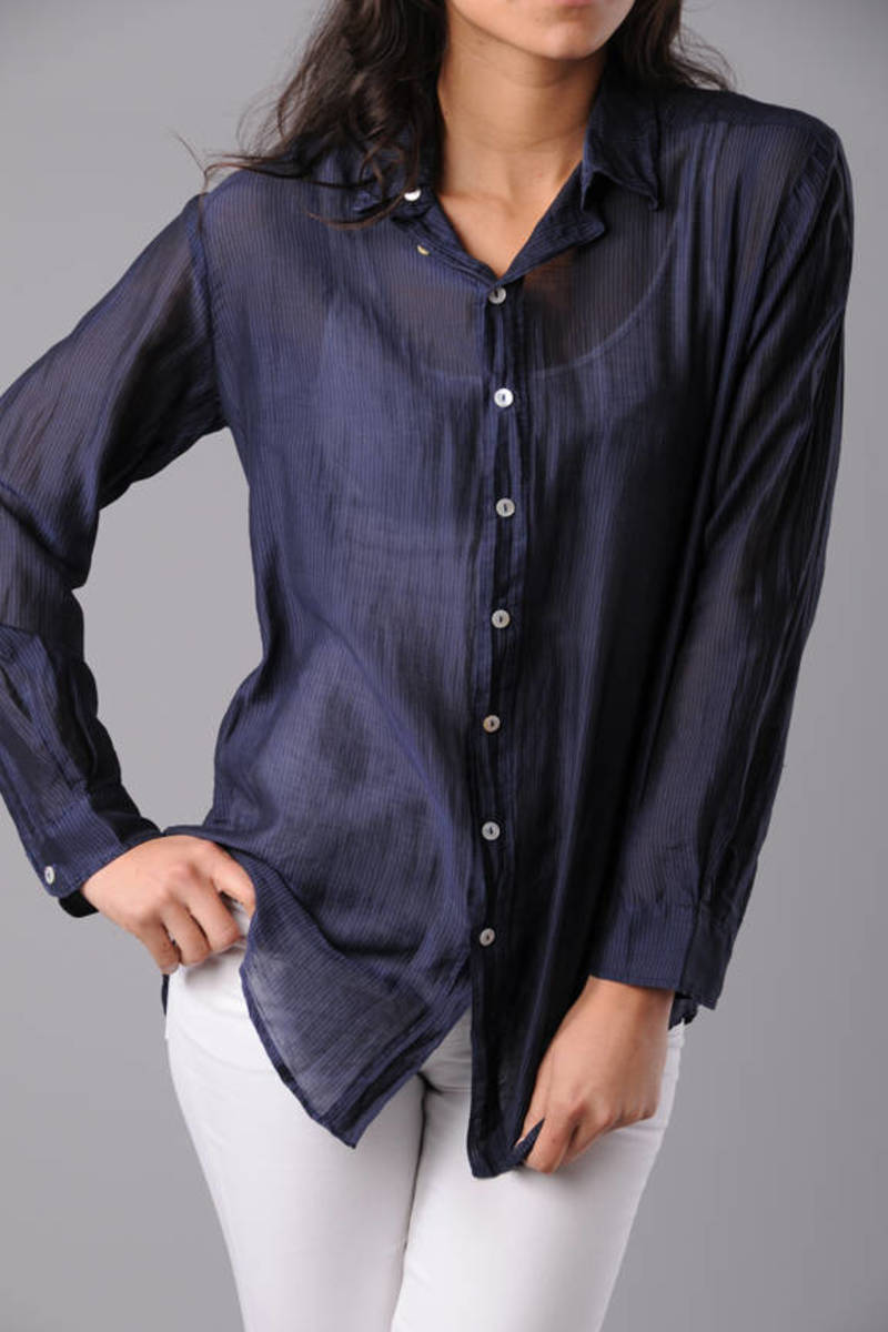 eecbbcb97 Navy Blue Sheer Button Up Blouse