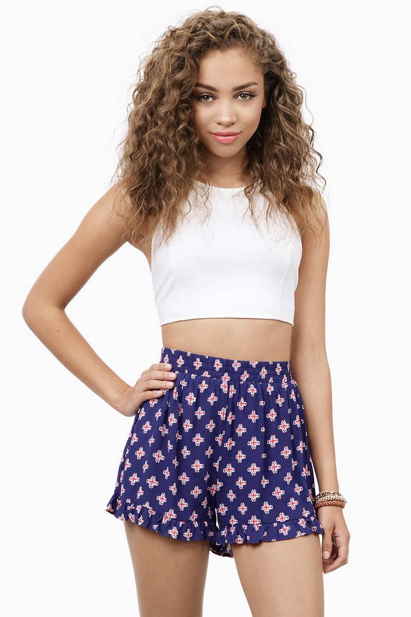Cassy Cutesy Navy Smocked Waist Shorts