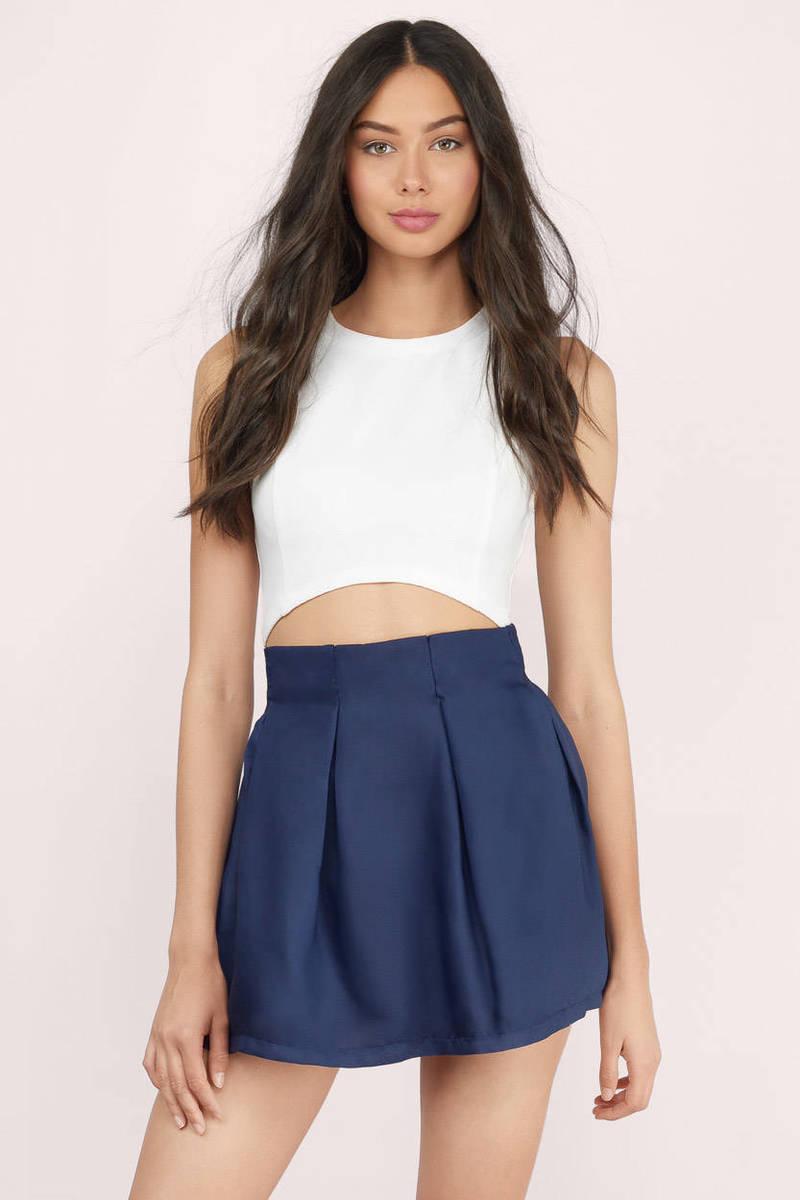 Casting Spells Navy Solid Skater Skirt