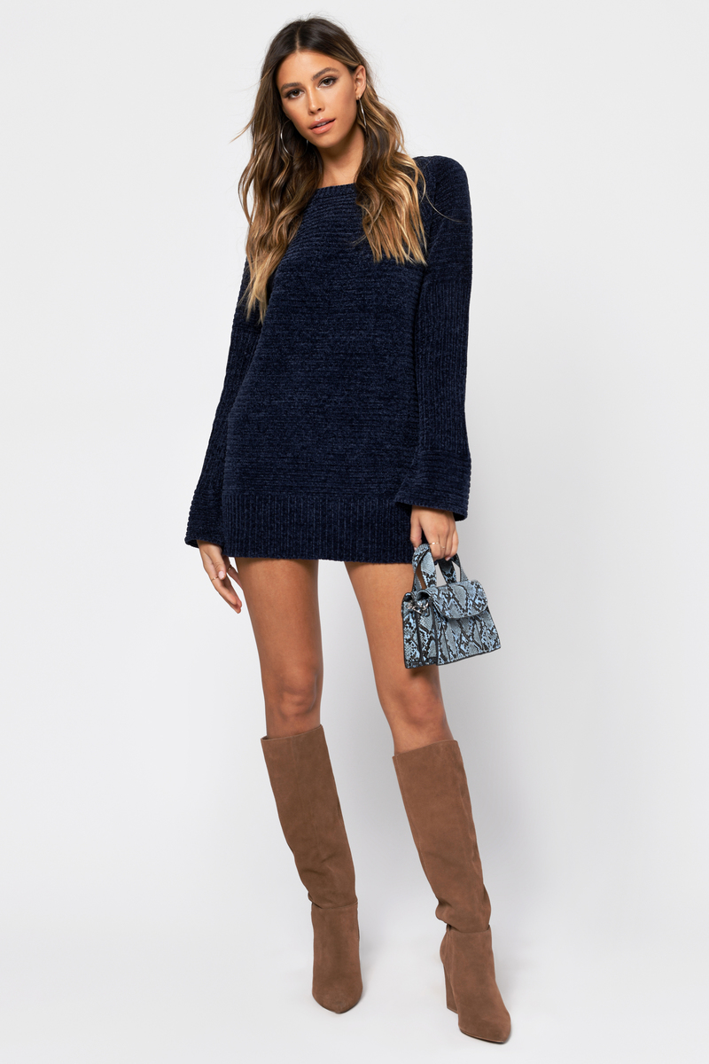 5e6a03ab6a1 Navy Blue Sweater Dress - Knit Dress - Navy Blue Chenille Dress ...