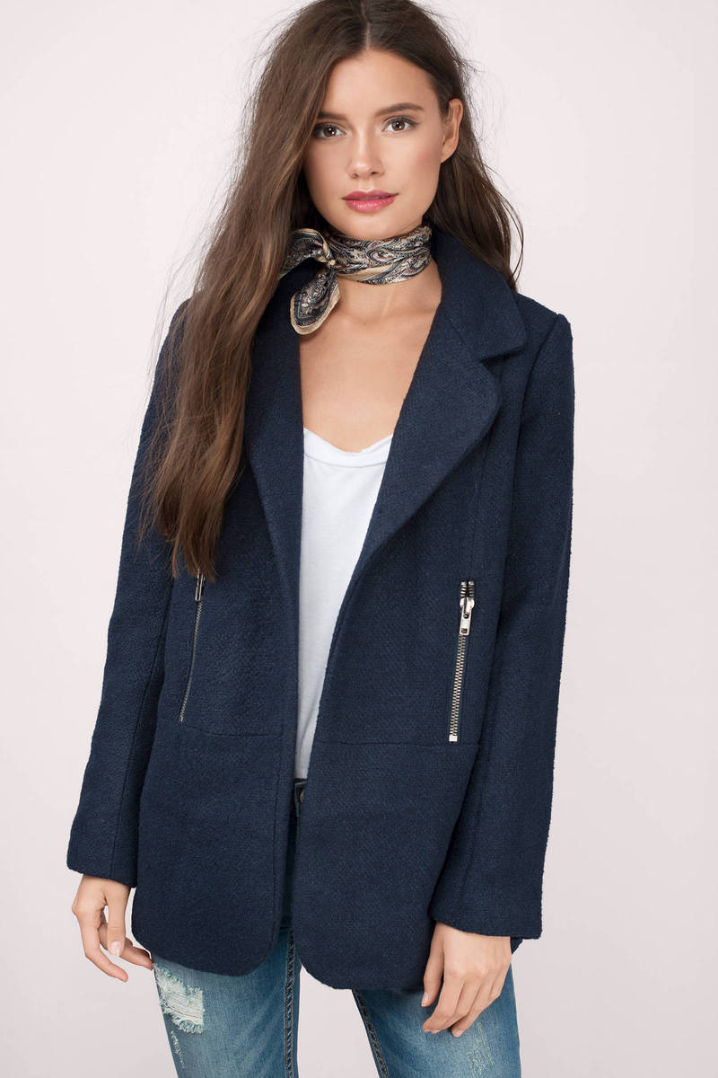 Cold Night Out Navy Wool Coat