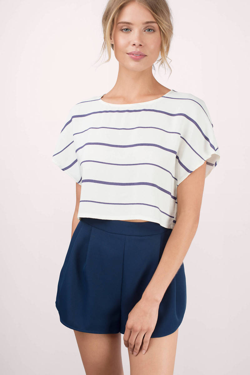 Kiely Navy & Cream Striped Crepe Gauze Crop Top