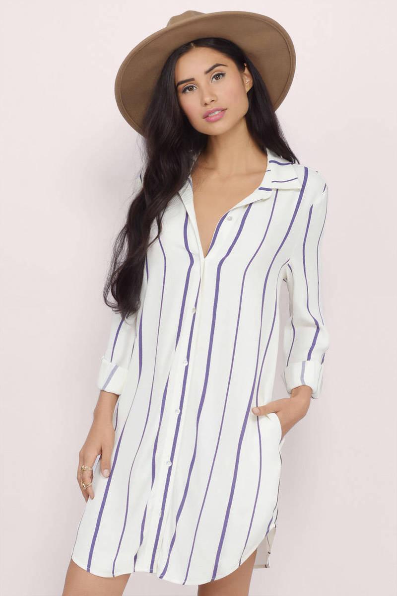 Stacee Striped Shirt Dress