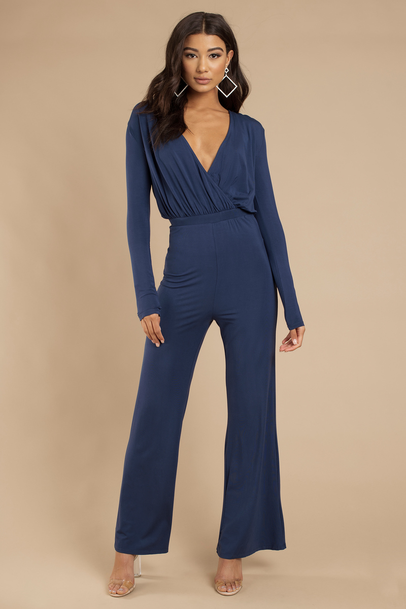 9139d15468 Trendy Navy Jumpsuit - Surplice Jumpsuit - Navy Jumpsuit -  15