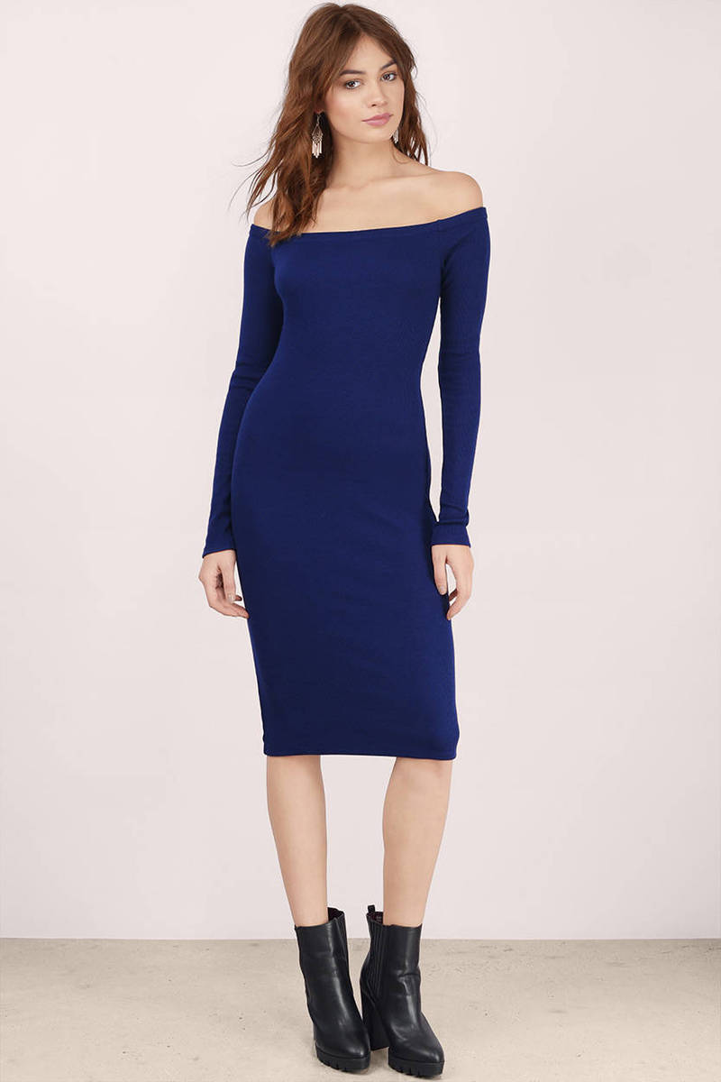 aeb0fe3363fb Navy Midi Dress - Blue Dress - Long Sleeve Dress - Navy Midi - C  32 ...