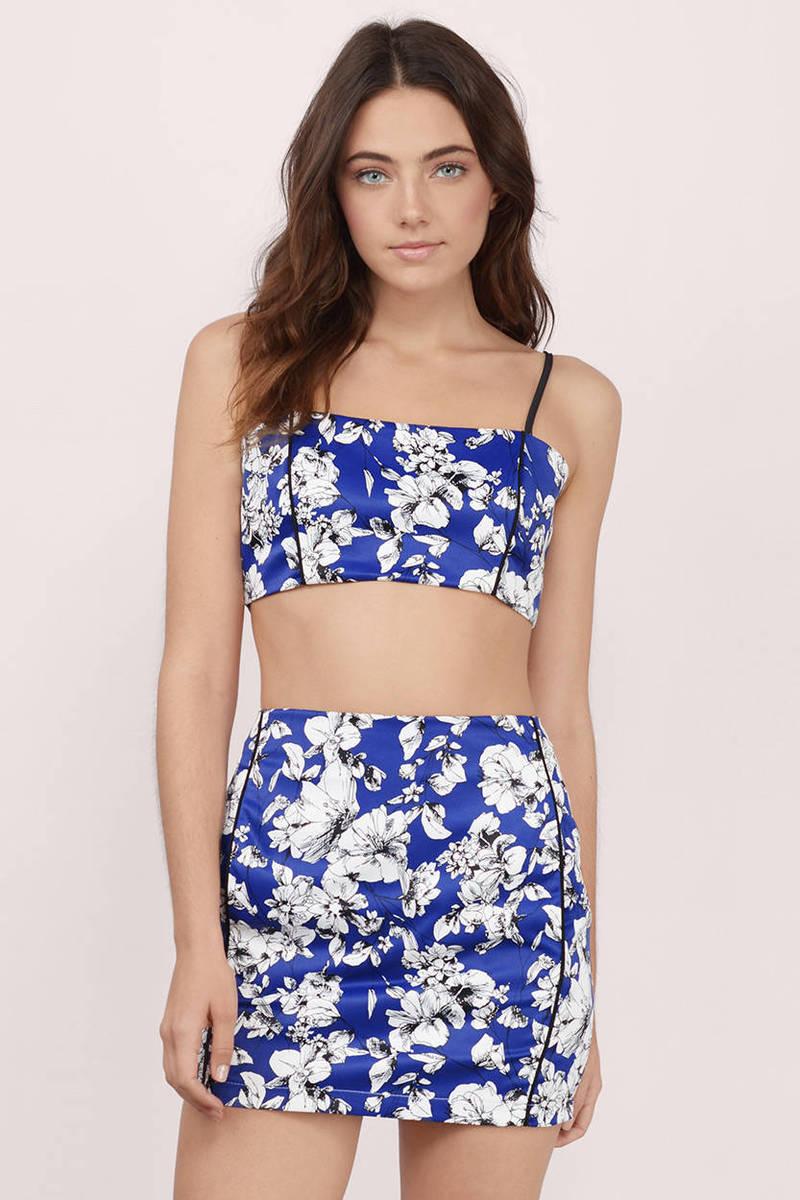 Navy Bodycon Dress - 2-Piece Dress - Floral Print Bodycon Dress ...