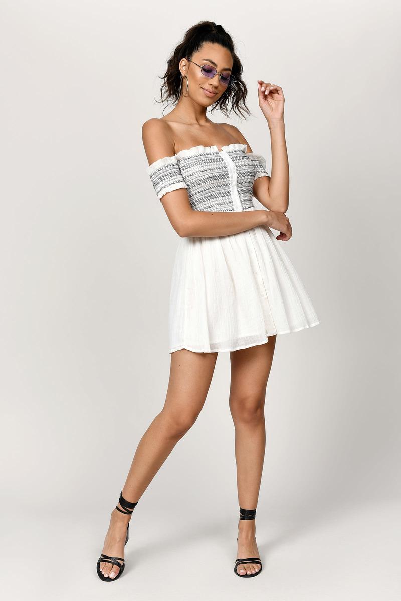 460627af467 Grey Skater Dress - Smocked Off Shoulder Dress - Grey Button Dress ...