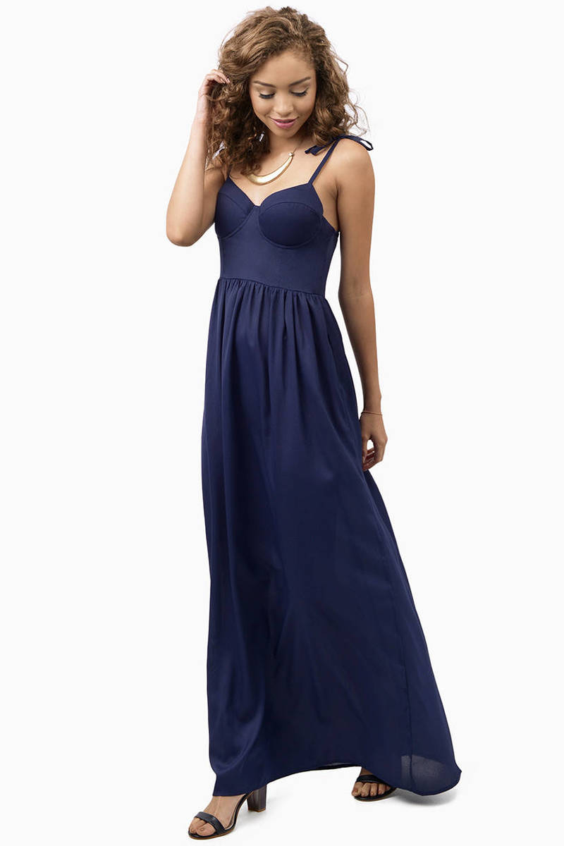 Cute Navy Maxi Dress - Blue Dress - Bustier Dress - $9.00
