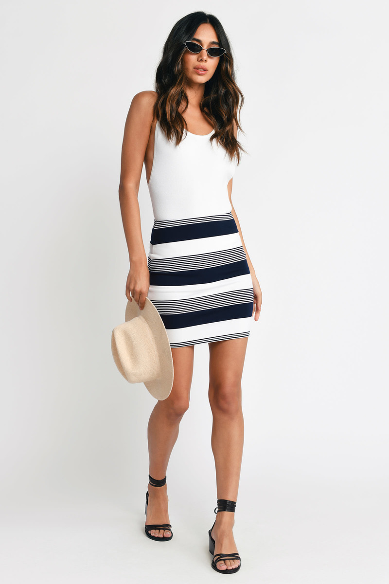 Hideaway Navy Striped Mini Skirt