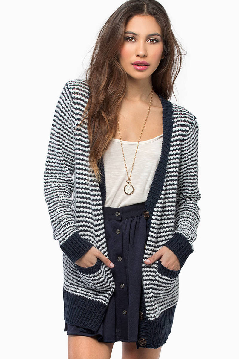 In Line Navy Striped Cardigan