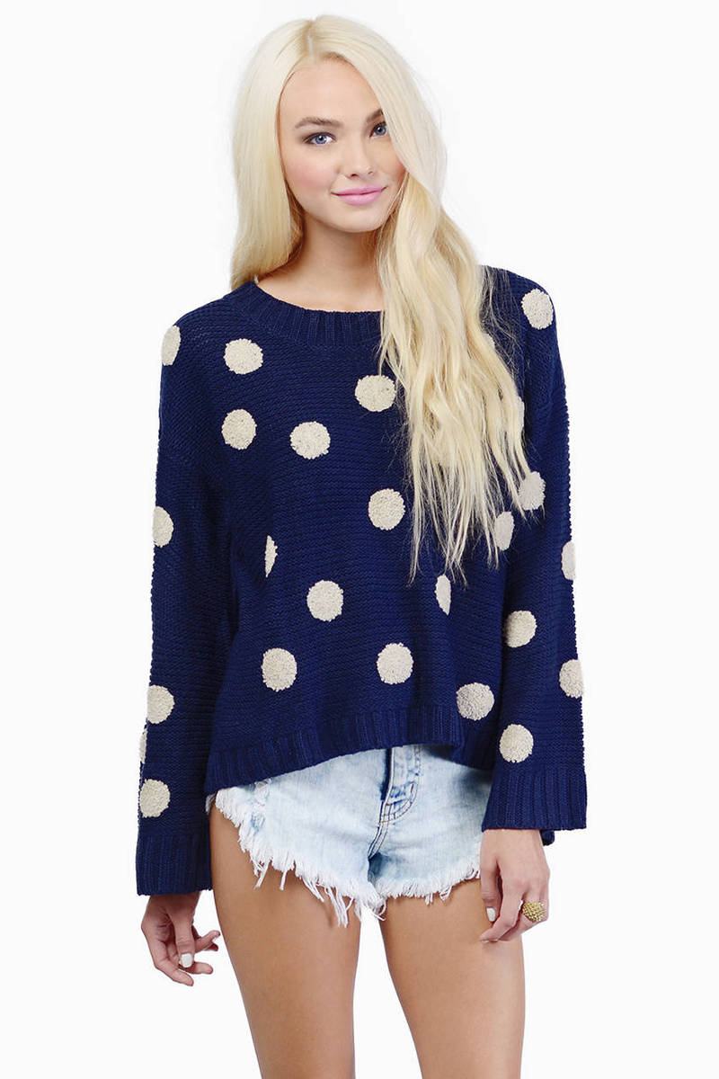 Penny For Your Dots Navy & Ivory Knitted Sweater