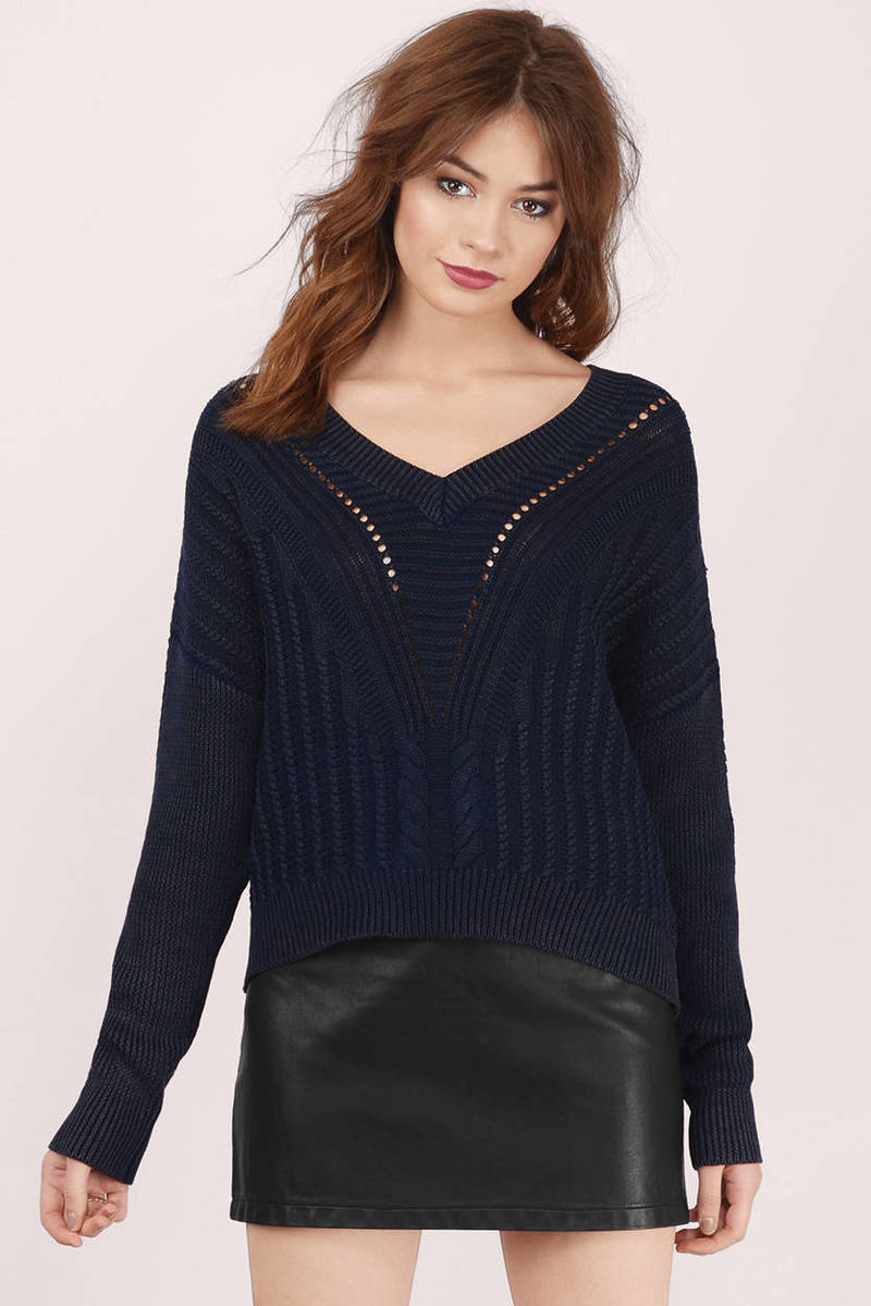 Knitted Together Navy  Sweater