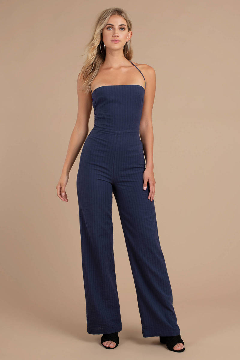 cad2bb7562c47 Knock Out Navy Halter Jumpsuit -  44