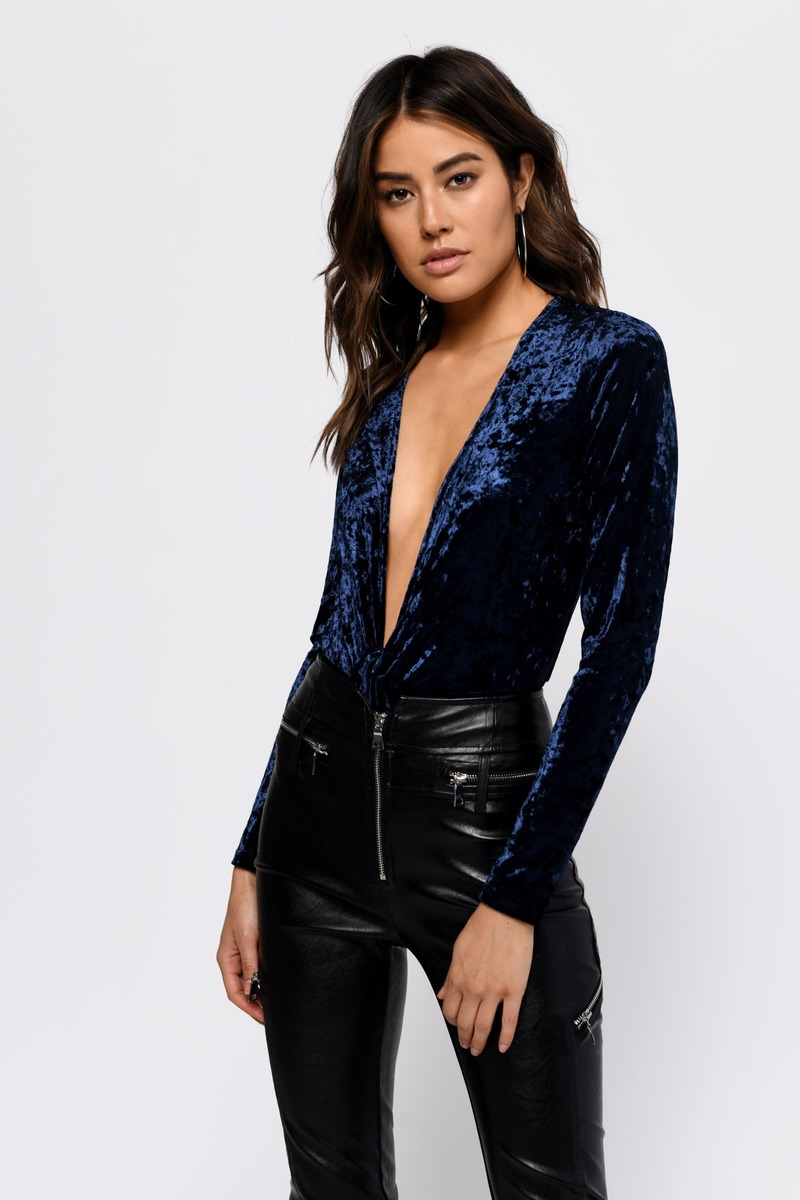 Knot Yours Velvet Bodysuit In Navy 62 Tobi Us