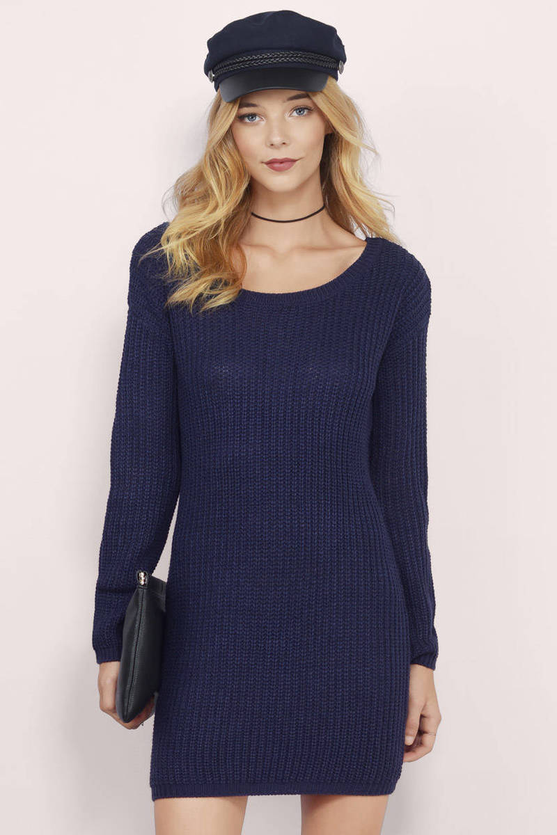 Laid,Back Navy Ribbed Sweater Dress