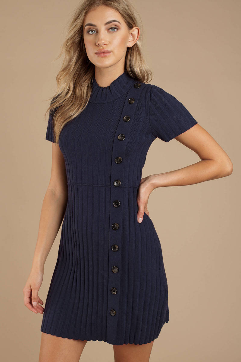 9917452dbb Navy Blue Free People Dress - Button Up Dress - Navy Blue Ribbed ...
