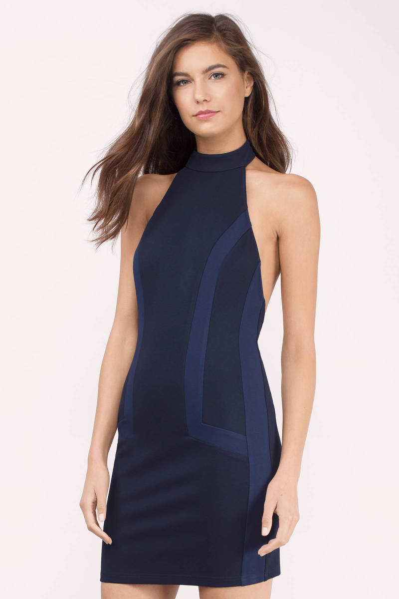 Navy Dress - Mock Neck Dress - Blue Colorblock Dress - Bodycon Dress ...