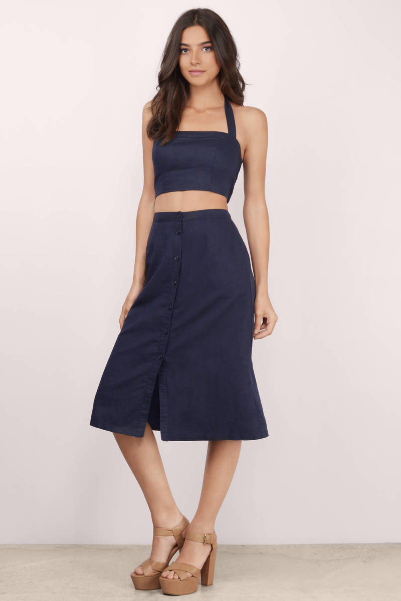 Trendy Navy Skirt - Blue Skirt - High Waisted Skirt - $16.00