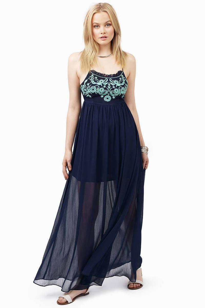 Navy & Mint Maxi Dress - Blue Dress - Flowy Dress - $12.00