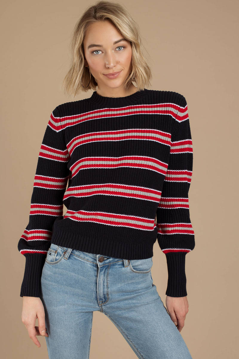 024b6d2cd55 Navy Blue The Fifth Label Sweater - Striped Sweater - Navy Blue Knit ...