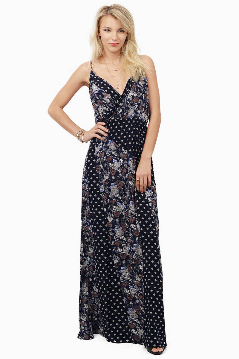 Simply Because Navy Multi Print Maxi Dress