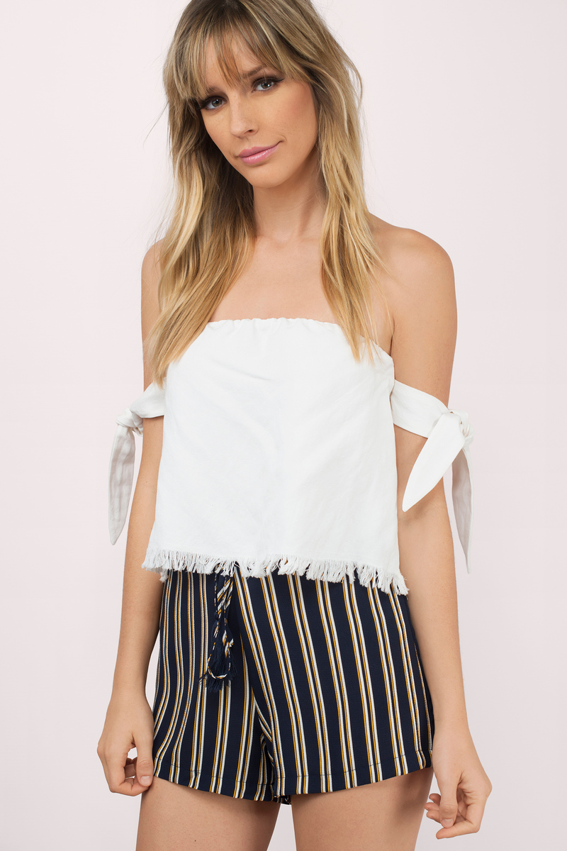 Sweet Side Navy Multi Striped Shorts
