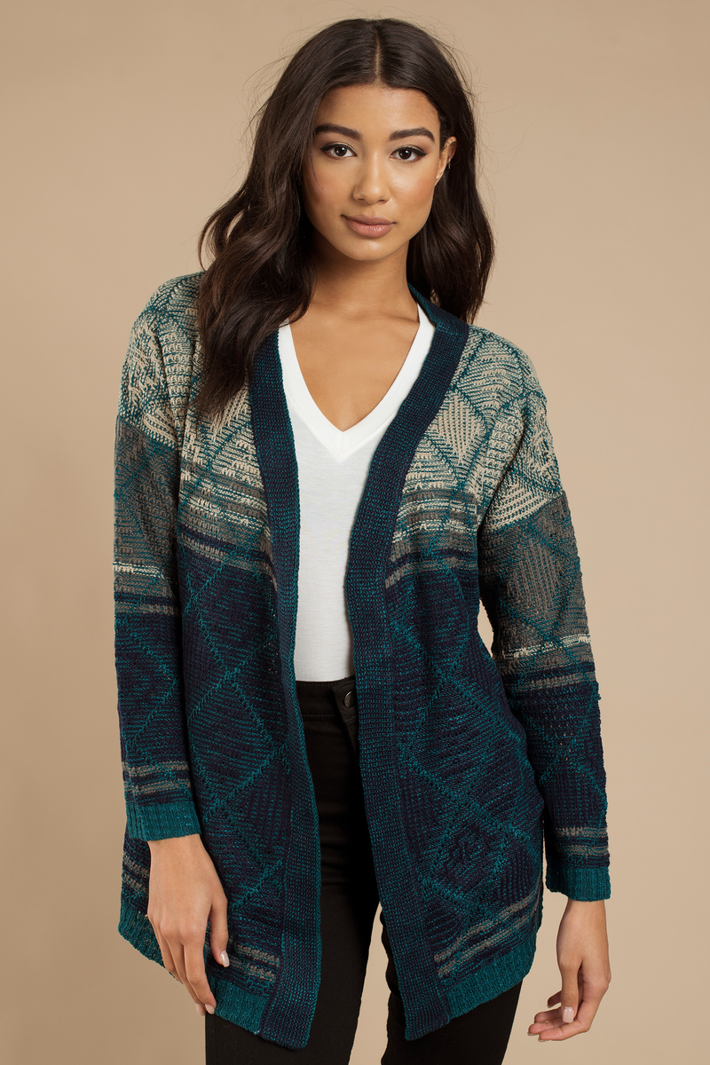 Warm Glow Navy Multi Knitted Cardigan