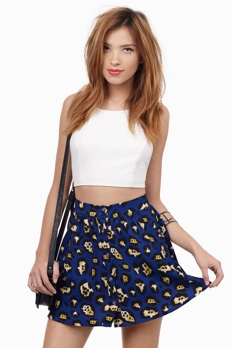 When The Cat's Away Navy Multi Leopard Print Skater Skirt